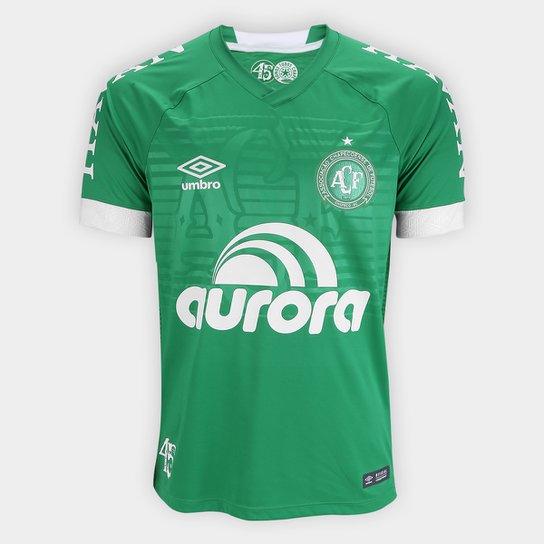 Camisa Chapecoense I 2018 s n° Jogador Umbro Masculina - Verde+Branco ae89c74f4c6