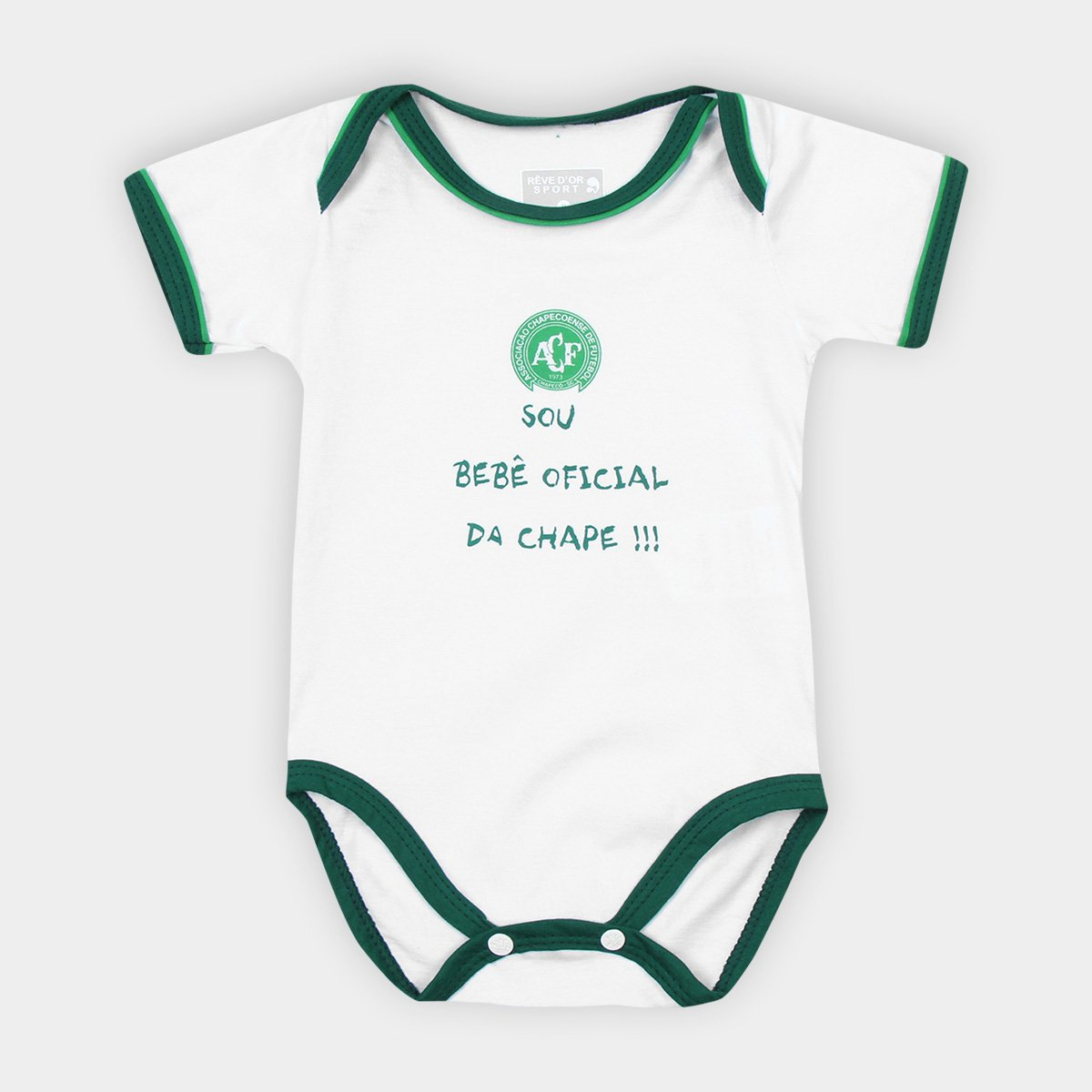 1ed0d46bb5 Body Chapecoense Infantil Sou Bebê - Branco e Verde | Loja da Chape
