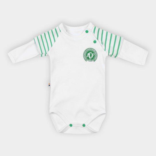 Body Infantil Chapecoense Raglan Suedine - Branco+Verde