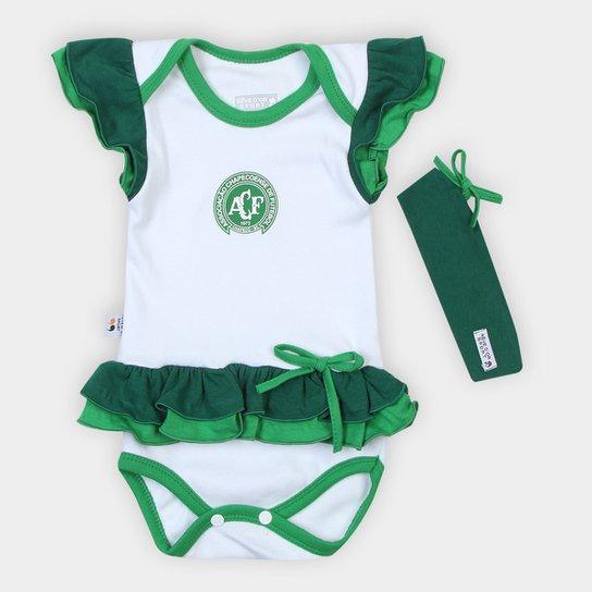 Body Infantil Chapecoense Vestido c/ Tiara - Branco+Verde