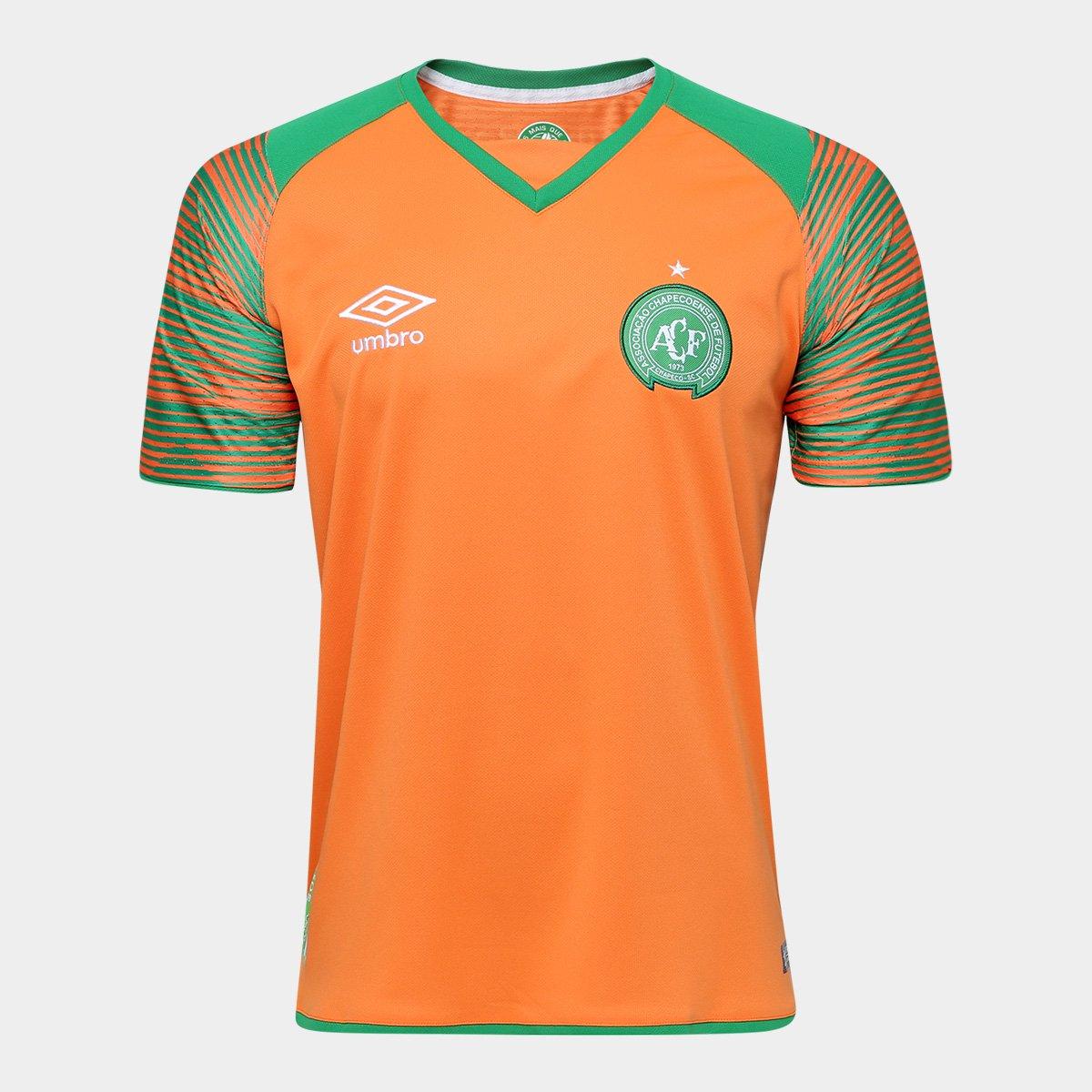 551c3476af00b Camisa Chapecoense Goleiro 17 18 nº 1 Torcedor Umbro Masculina - Laranja e  Verde - Compre Agora