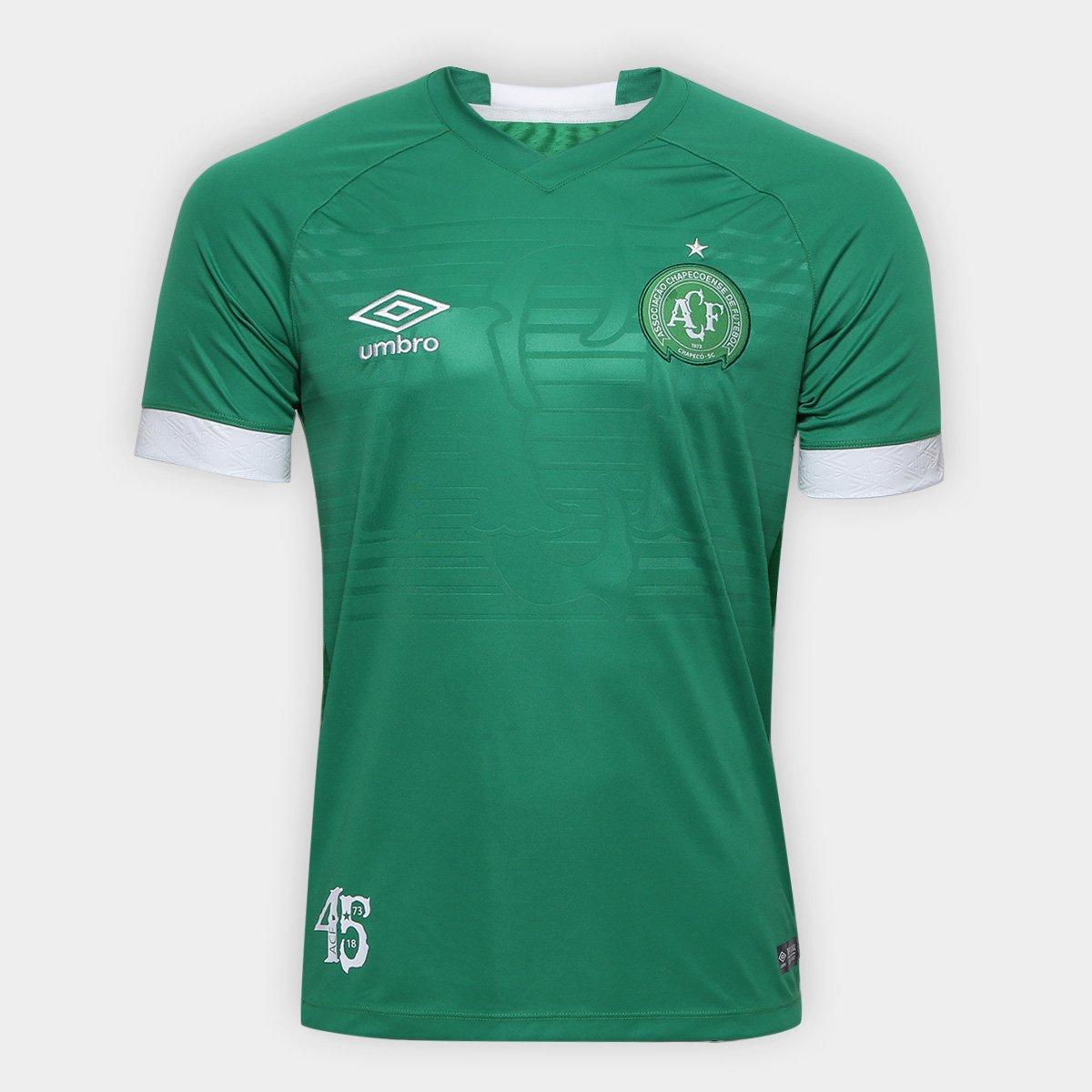 Camisa Chapecoense I 2018 s n° Torcedor Umbro Masculina - Verde e ... a685bd8d10cbe