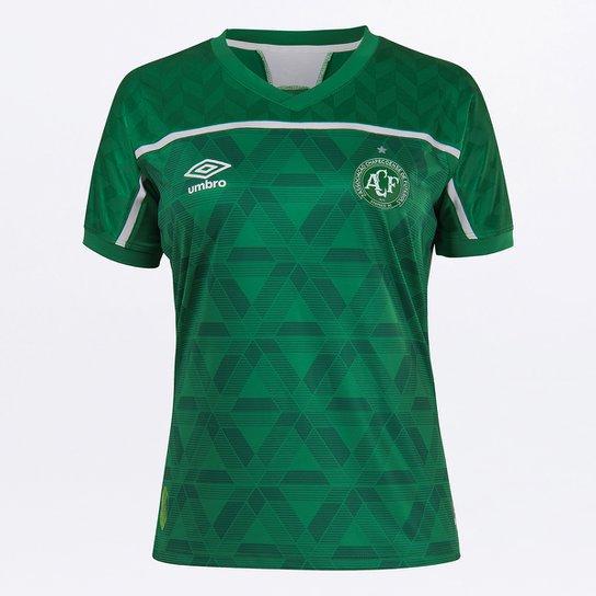 Camisa Chapecoense I 20/21 s/n° Torcedor Umbro Feminina - Verde+Branco