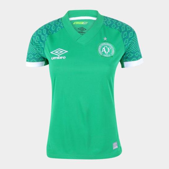 Camisa Chapecoense I 21/22 s/n° Torcedor Umbro Feminina - Verde+Branco