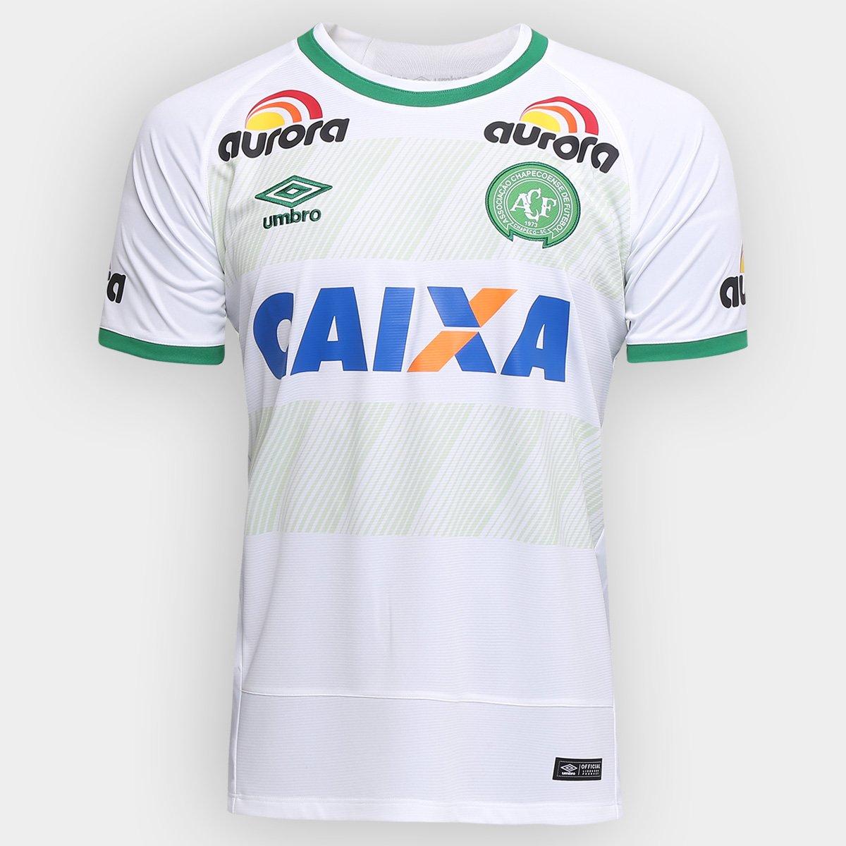 f7578dcf51 Camisa Chapecoense II 2016 s/nº Torcedor Umbro Masculina - Branco e Verde |  Loja da Chape