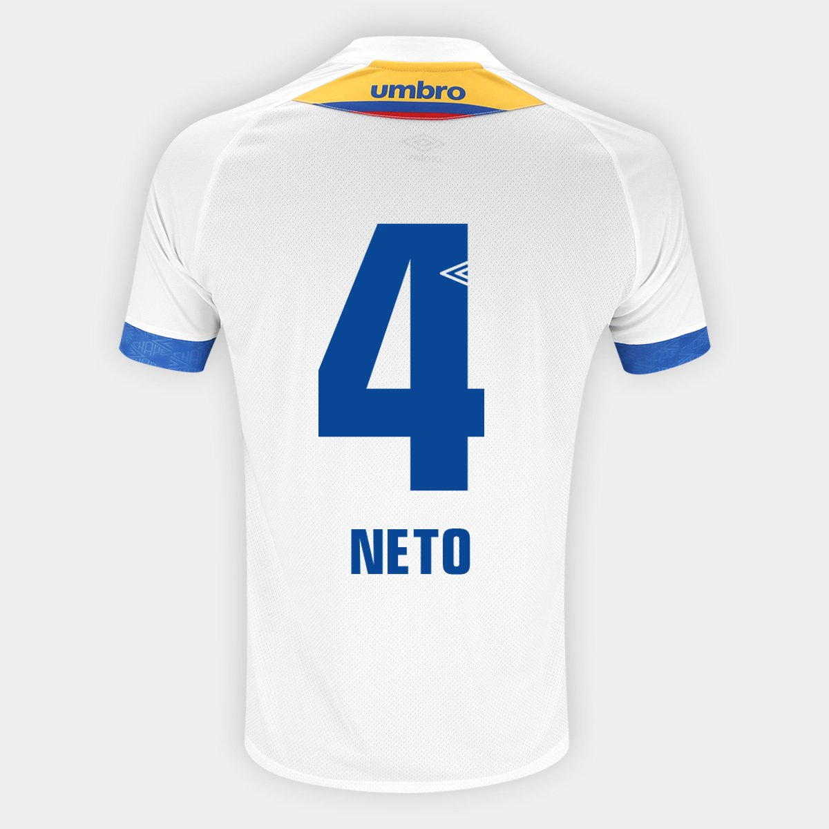 7d9c3b23dad5c Camisa Chapecoense II 2018 N° 4 Neto - Torcedor Umbro Masculina - Branco e  Azul - Compre Agora