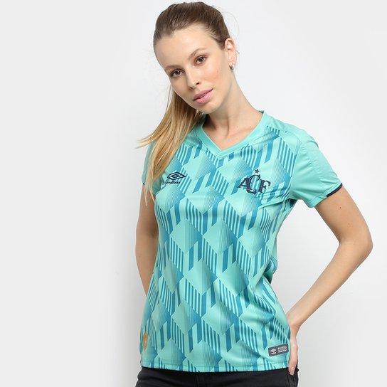 Camisa Chapecoense III 19/20 s/n° - Torcedor Umbro Feminina - Verde+Azul