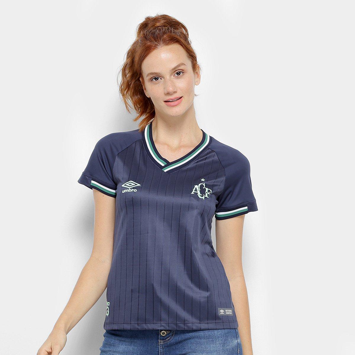 b2a96d1d0832f Camisa Chapecoense III 2018 s/n° Torcedor Umbro Feminina - Marinho e Verde  | Loja da Chape