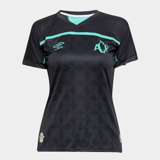 Camisa Chapecoense III 20/21 s/n° Torcedor Umbro Feminina - Preto+verde