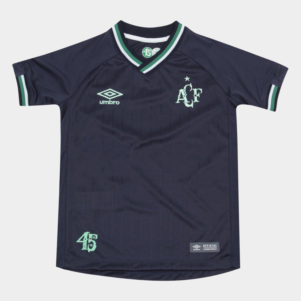 c6b0d9bb6c706 Camisa Chapecoense Infantil III 2018 s/n° Torcedor Umbro - Marinho e Verde  | Loja da Chape