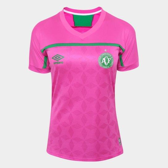 Camisa Chapecoense Outubro Rosa 20/21 s/n° Torcedor Umbro Feminina - Rosa+Verde