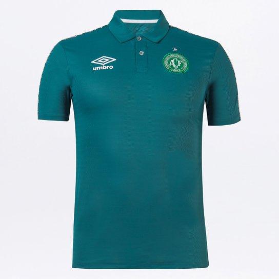 Camisa Polo Chapecoense Viagem 21/22 Umbro Masculina - Verde escuro
