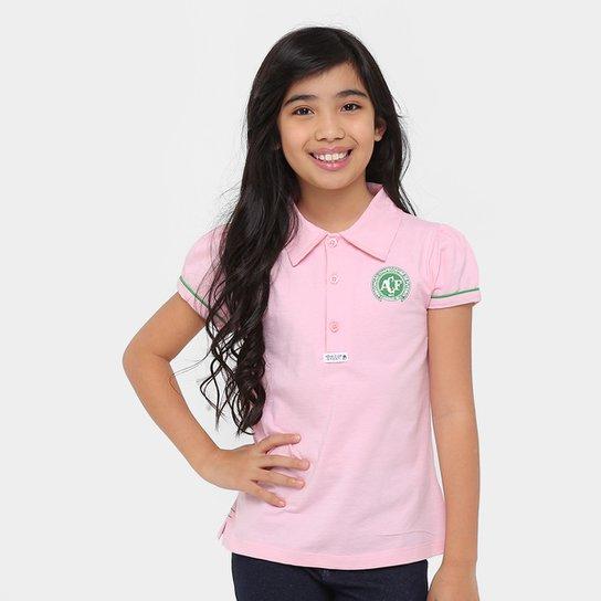 Camisa Polo Infantil Chapecoense I - Rosa