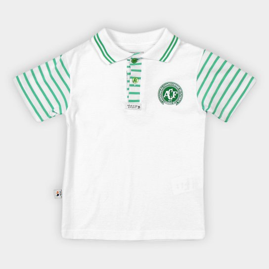Camisa Polo Infantil Chapecoense Malha I - Branco+Verde