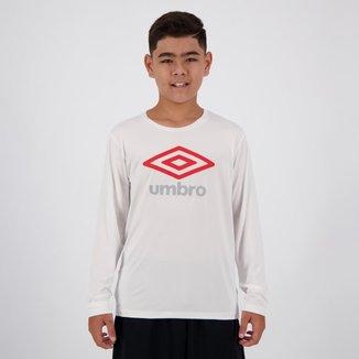 Camiseta Umbro Basic UV Estampada Manga Longa Juvenil Branca