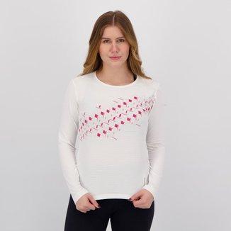 Camiseta Umbro Mosaic Manga Longa Feminina Branca