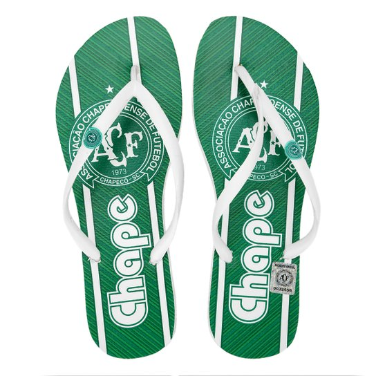 Chinelo Chapecoense Amigo Do Pé Feminino - Verde+Branco