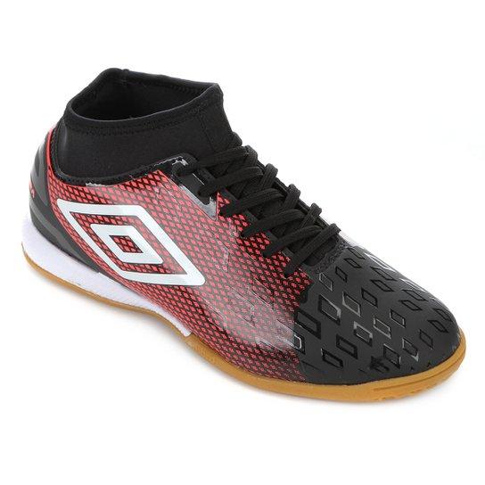 Chuteira Futsal Umbro Calibra II - Preto+Vermelho