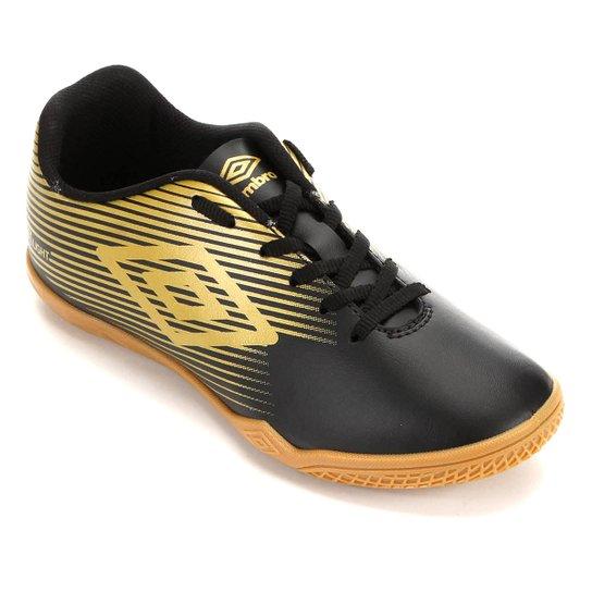 Chuteira Futsal Umbro F5 Light - Preto+Dourado