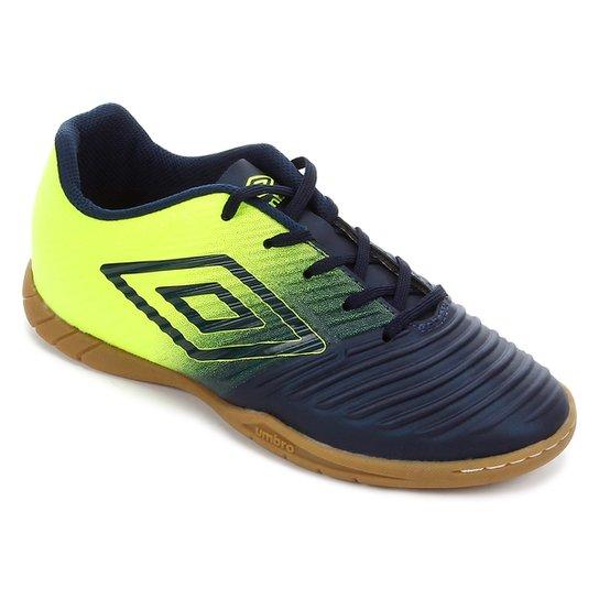 Chuteira Futsal Umbro Fifty III - Marinho+Verde Limão