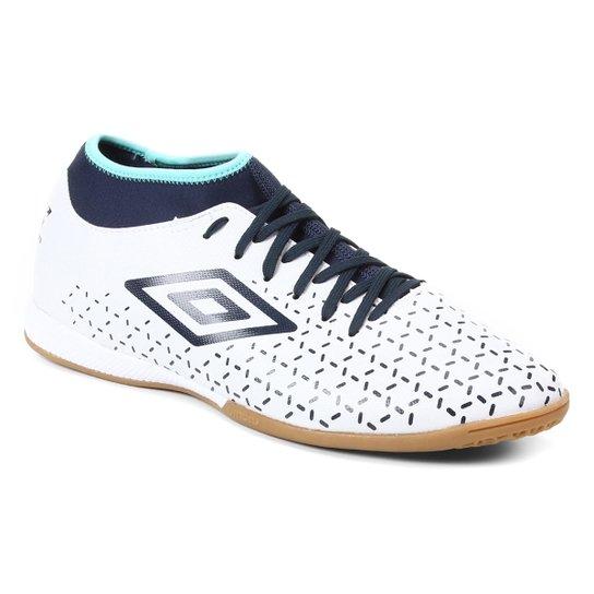 Chuteira Futsal Umbro Velocita V Club - Branco+Marinho