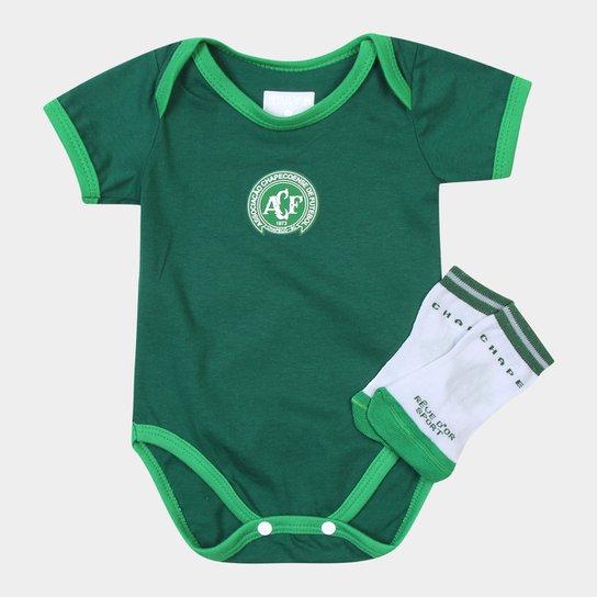 Kit Chapecoense Infantil c/ Body e Meia - Branco+Verde